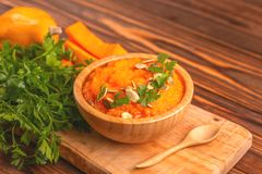 Bright tasty pureed pumpkin soup with ingredients royalty free stock photography