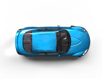 Bright Teal Modern Race Car on White Background - Top View Royalty Free Stock Image