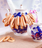Bright Teapots with Bagels Royalty Free Stock Photo