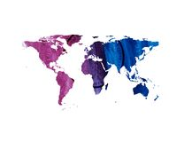 Bright tech watercolor world map Royalty Free Stock Images