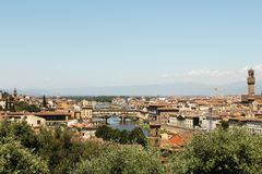 Bright tiled roofs of florence view stock photography