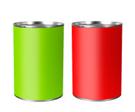 Bright tin cans isolated over white Royalty Free Stock Image
