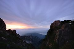 Bright Top peak sunrise, Mt. Huangshan Stock Image