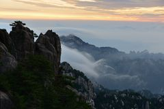 Bright Top peak sunrise, Mt. Huangshan Stock Images
