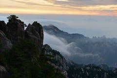 Bright Top peak sunrise, Mt. Huangshan Stock Images
