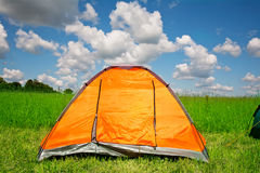 Bright tourist tent Stock Images