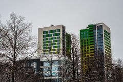 Bright  towers. Bright twins towers with trees Royalty Free Stock Image