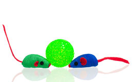 Bright toy mice. Toy mice for little kitten isolated on white background Royalty Free Stock Images