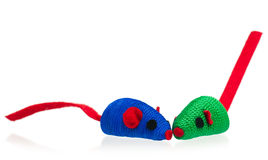 Bright toy mice. Toy mice for little kitten isolated on white background Stock Photo