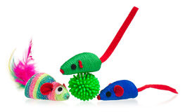 Bright toy mice. Toy mice for little kitten isolated on white background Royalty Free Stock Image