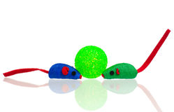 Bright toy mice. Toy mice for little kitten isolated on white background Royalty Free Stock Photography