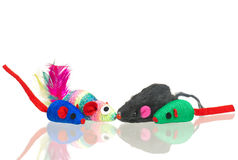 Bright toy mice. For little kitten isolated on white background Stock Photo