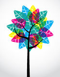 Bright Transparent Tree. Artistic depiction of tree with large transparent leaves Stock Photography