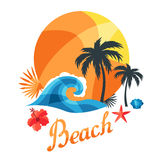 Bright travel illustration or print for t-shirts Stock Images