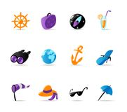 Bright travel and resort icons Royalty Free Stock Images