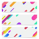 Bright trendy minimalistic neon lines abstract cards collection. Vector illustration Royalty Free Stock Photography