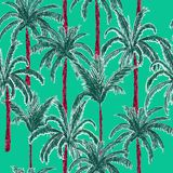 Bright and trendy  summer palm trees on the stylish green mint y. Ellow  forest  background. Vector seamless pattern. Tropical illustration. Jungle foliage Royalty Free Stock Images