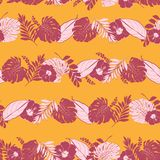 Bright Trendy Summer tropical in horizontal stripe line with le royalty free illustration
