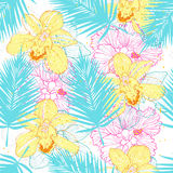 Bright tropcal pattern Stock Images