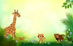Bright tropical background with cartoon; jungle; animals;. Spring or Summer Season Abstract Nature Banner Background.  with jungle plants.cartoon; jungle Royalty Free Stock Photo