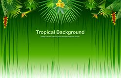 Bright tropical background with jungle plants. Exotic pattern with tropical leaves. Vector illustration Royalty Free Stock Photography