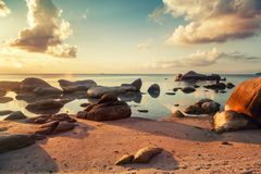Bright tropical beautiful landscape, sunset on the beach with la stock photo