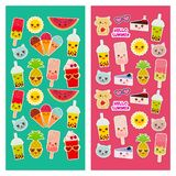 Bright tropical card design, fashion patches badges stickers. Applicable for Banners, Posters. Exotic pineapple, bubble tea cup,. Ice cream, cake, sunglasses royalty free illustration