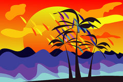 Bright tropical island with sun and palms Stock Image