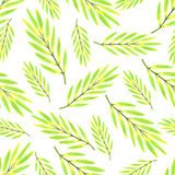 Bright tropical leaves watercolor seamless pattern. Vector texture with hand paint Royalty Free Stock Photography