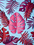 Bright tropical paper leaves. Bright tropical paper leaves on pastel blue background. Summer concept. Flat lay Stock Photography