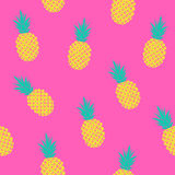 Bright tropical pattern with pineapples. Vector seamless pattern with pineapples on pink background, bright summer pattern stock illustration