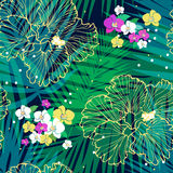 Bright tropical pattern. Vector seamless tropic pattern with palm leaves and flowers Royalty Free Stock Images