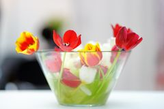 Bright tulip bouquet in glass vase Stock Photography