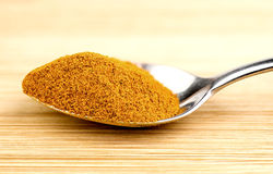 Bright turmeric powder in teaspoon Royalty Free Stock Image