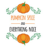 Bright typographic element with pumpkins hand drawn leaves, quote. Royalty Free Stock Photos