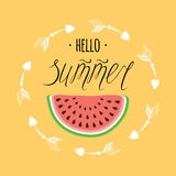 Bright typography banner Hello Summer with watermelon on yelow ath arrow circle frame. Bright typography banner hand drawn text Hello Summer with watermelon vector illustration