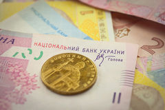 Bright ukrainian money background Royalty Free Stock Photos