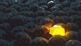 Free Bright Umbrella In Darkness Stock Images - 210716034