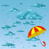 Bright umbrella and rain. Rainy day and colored umbrella. Vector illustration Royalty Free Stock Photography