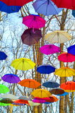 Bright umbrellas. Bright, Vivid Colors. Freedom concept. Multicolored umbrellas against blue sky Royalty Free Stock Image