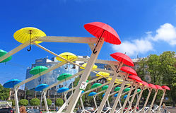Bright umbrellas decoration in fan zone for international song competition Eurovision-2017 on Sofia square in Kyiv Stock Photo