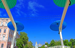 Bright umbrellas decoration in fan zone for international song competition Eurovision-2017 on Sofia square Royalty Free Stock Photos