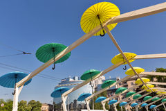 Bright umbrellas street decoration in Kiev, Ukraine. Stock Photos