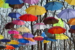 Bright umbrellas on trees, blue sky. Park landscape in autumn. Many Multicolored umbrellas against blue sky. Rainbow Colors Royalty Free Stock Images