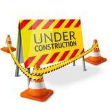 Bright Under Construction sign with orange. Stripped road cones and yellow caution tape. Vector illustration Royalty Free Stock Photos