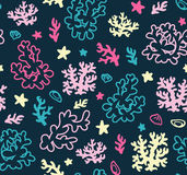 Bright underwater seamless pattern with beautiful corals.  Vector backdrop. Use for wallpaper,pattern fills, web page background. Stock Photos