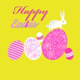 Bright unusual greeting card for Happy Easter with eggs and a rabbit. Bright unusual decorative greeting card for Happy Easter with eggs and a rabbit stock illustration