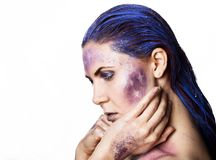 Bright unusual make-up, creative body art of space and stars.  royalty free stock photography