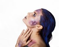 Bright unusual make-up, creative body art of space and stars.  stock photography