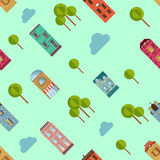 Bright urban vector houses and trees background. Royalty Free Stock Photo